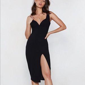 Plunge Down Midi Dress, Nasty Gal, Black, NWT